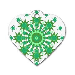 Mandala Geometric Pattern Shapes Dog Tag Heart (one Side) by Celenk