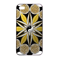 Mandala Yin Yang Live Flower Apple Iphone 4/4s Seamless Case (black)