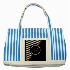 Twenty One Pilots Poster Striped Blue Tote Bag by Onesevenart
