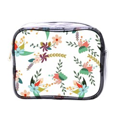 Floral Backdrop Pattern Flower Mini Toiletries Bags by Celenk