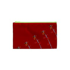 Red Background Paper Plants Cosmetic Bag (xs) by Celenk