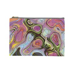 Retro Background Colorful Hippie Cosmetic Bag (large)  by Celenk