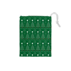 Christmas Tree Holiday Star Drawstring Pouches (small)  by Celenk