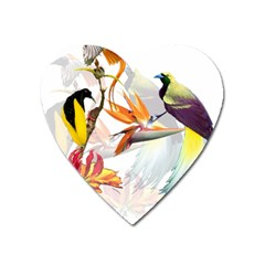 Exotic Birds Of Paradise And Flowers Watercolor Heart Magnet by TKKdesignsCo