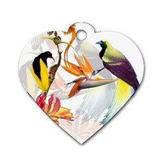 Exotic Birds Of Paradise And Flowers Watercolor Dog Tag Heart (two Sides) by TKKdesignsCo