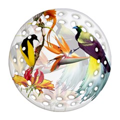 Exotic Birds Of Paradise And Flowers Watercolor Ornament (round Filigree) by TKKdesignsCo