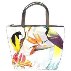 Exotic Birds Of Paradise And Flowers Watercolor Bucket Bags by TKKdesignsCo