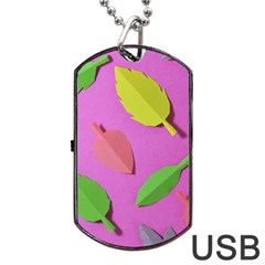 Leaves Autumn Nature Trees Dog Tag Usb Flash (two Sides) by Celenk