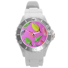 Leaves Autumn Nature Trees Round Plastic Sport Watch (l) by Celenk