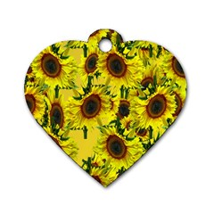 Sun Flower Pattern Background Dog Tag Heart (one Side) by Celenk