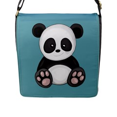 Cute Panda Flap Messenger Bag (l)  by Valentinaart
