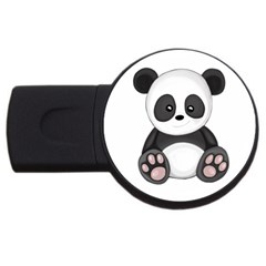 Cute Panda Usb Flash Drive Round (2 Gb) by Valentinaart