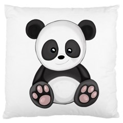 Cute Panda Large Flano Cushion Case (one Side) by Valentinaart