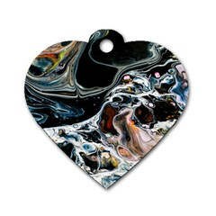 Abstract Flow River Black Dog Tag Heart (two Sides) by Celenk