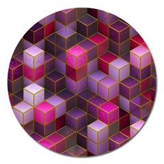 Cube Surface Texture Background Magnet 5  (round) by Celenk