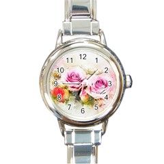 Flower Roses Art Abstract Round Italian Charm Watch by Celenk