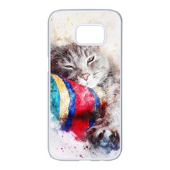 Cat Kitty Animal Art Abstract Samsung Galaxy S7 Edge White Seamless Case by Celenk