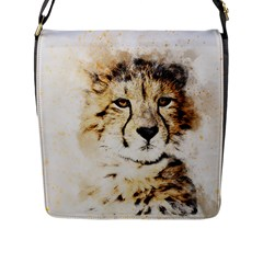 Leopard Animal Art Abstract Flap Messenger Bag (l)