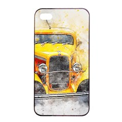 Car Old Art Abstract Apple Iphone 4/4s Seamless Case (black) by Celenk
