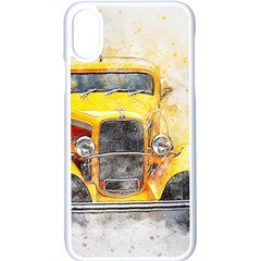 Car Old Art Abstract Apple Iphone X Seamless Case (white) by Celenk