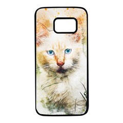 Cat Animal Art Abstract Watercolor Samsung Galaxy S7 Black Seamless Case by Celenk