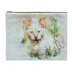 Cat Animal Art Abstract Watercolor Cosmetic Bag (xl) by Celenk