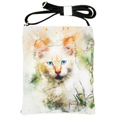 Cat Animal Art Abstract Watercolor Shoulder Sling Bags by Celenk