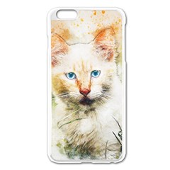 Cat Animal Art Abstract Watercolor Apple Iphone 6 Plus/6s Plus Enamel White Case by Celenk