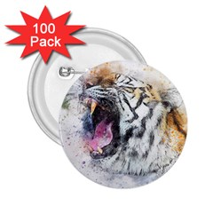 Tiger Roar Animal Art Abstract 2 25  Buttons (100 Pack)  by Celenk
