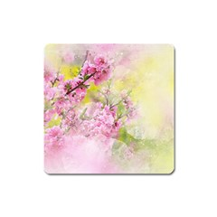 Flowers Pink Art Abstract Nature Square Magnet by Celenk