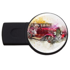 Car Old Car Art Abstract Usb Flash Drive Round (2 Gb) by Celenk