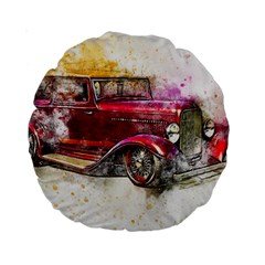 Car Old Car Art Abstract Standard 15  Premium Round Cushions by Celenk