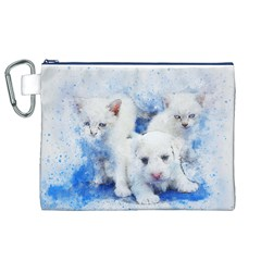 Dog Cats Pet Art Abstract Canvas Cosmetic Bag (xl) by Celenk