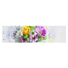Flowers Vase Art Abstract Nature Satin Scarf (oblong) by Celenk