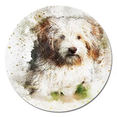 Dog Animal Pet Art Abstract Magnet 5  (round) by Celenk