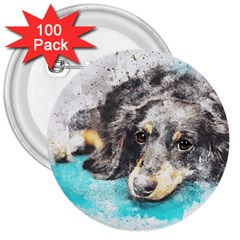 Dog Animal Art Abstract Watercolor 3  Buttons (100 Pack)  by Celenk