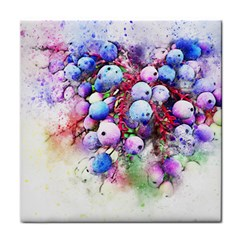 Berries Pink Blue Art Abstract Tile Coasters by Celenk