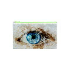 Eye Blue Girl Art Abstract Cosmetic Bag (xs) by Celenk