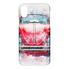 Red Car Old Car Art Abstract Apple Iphone X Hardshell Case by Celenk