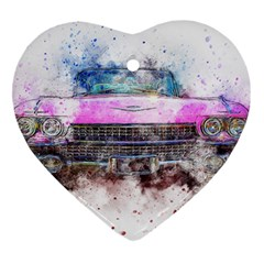 Pink Car Old Art Abstract Ornament (heart) by Celenk