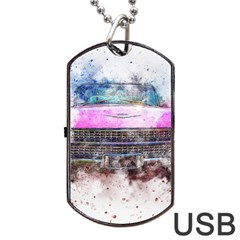 Pink Car Old Art Abstract Dog Tag Usb Flash (one Side) by Celenk
