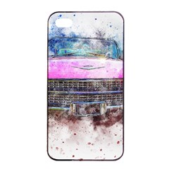 Pink Car Old Art Abstract Apple Iphone 4/4s Seamless Case (black) by Celenk