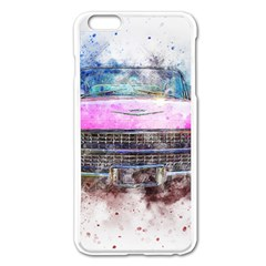 Pink Car Old Art Abstract Apple Iphone 6 Plus/6s Plus Enamel White Case by Celenk