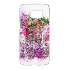 Window Flowers Nature Art Abstract Samsung Galaxy S7 Edge White Seamless Case