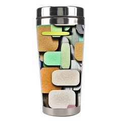 Background Painted Squares Art Stainless Steel Travel Tumblers by Celenk