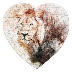 Lion Animal Art Abstract Jigsaw Puzzle (heart) by Celenk