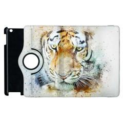 Tiger Animal Art Abstract Apple Ipad 2 Flip 360 Case by Celenk