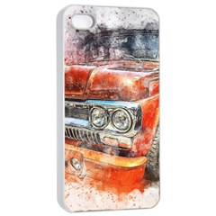Car Old Car Art Abstract Apple Iphone 4/4s Seamless Case (white) by Celenk