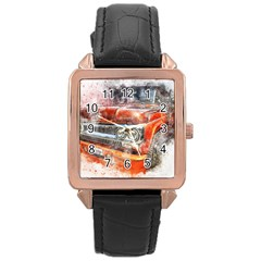 Car Old Car Art Abstract Rose Gold Leather Watch  by Celenk