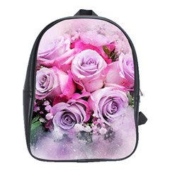 Flowers Roses Bouquet Art Abstract School Bag (xl) by Celenk